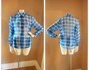Vintage 90s Impression Sheer Button Down Blouse  // Size S