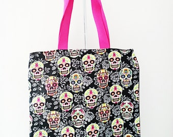 "Tote bag reversible women ""Skulls"" - motive ""Skulls"" - black and multicolor"