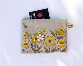 """Illustrated natural linen """"poppies"""" yellow and gold wallet"""