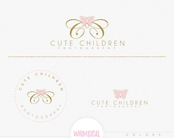 Double C Butterfly logo-Premade Photography Logo and Watermark, Classic Elegant Script Font GOLD GLITTER butterfly children Calligraphy
