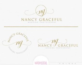 Fancy initials script- feminine font script Design Branding Package Inc. Photography - GOLD GLITTER initials letters script Watercolor Logo