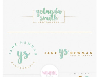 Photographer Initials logo-  Initials elegant logo kit- cute fashion emblem logo package -  handmade natural products watercolor watermark