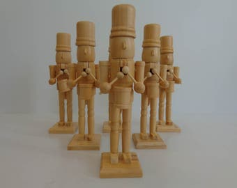 Wood Nutcracker, Wood Craft Supplies, DIY Home and Hobby, Wooden and Carpentry Materials, Wooden Nutcracker, DIY Craft Supplies, Set of 6