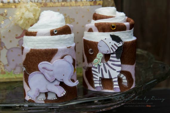 Safari Baby Shower Gift | Zoo Baby Shower Gift Basket | Mini Diaper Cake Gift Basket | Elephant | Zebra | Monkey | Mini Diaper Cupcakes