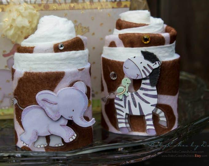 Safari Baby Shower Gift   Zoo Baby Shower Gift Basket   Mini Diaper Cake Gift Basket