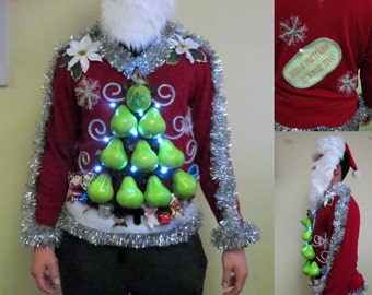 "Made to order 3D Big Pears Hilarious Partridge in a ""Pear"" Tree Tacky Ugly Christmas Sweater Light UP sweater, Mens sweater, womens sweater"