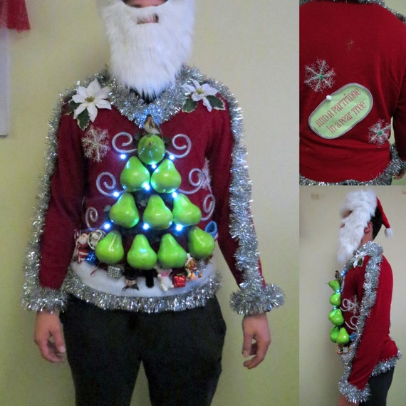 Hilarious partridge in a quot pear quot tree tacky ugly christmas sweater