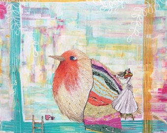 Paper art Red Robin - Large Mixed Media Collage