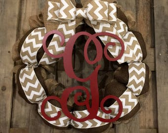 Monogram Burlap Wreath Brown Espresso White Chevron Bow Red Vine Wood Letter Front Door Personalized Wedding Gift You Choose letter