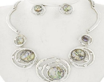 abstract sim abolone  stone circle necklace and earrings set
