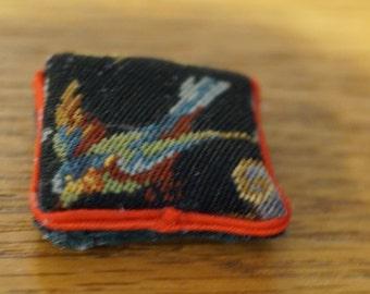 SALE! Dollhouse Miniature Petit Point Pillow: Colorful Bird