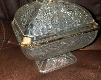 Vintage Square Glass Covered Dish