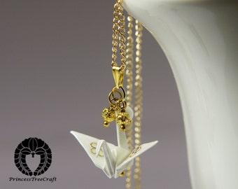 Origami Crane Pendant - White and gold coloured