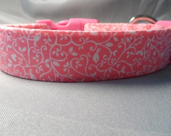 Girl Dog Collar, Pretty Scroll on Bright Pink