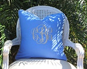 Monogrammed Piped Blue Linen Pillow Cover/ 20x20 Toss Accent Pillow/ Designer Pillow/ Decorative Custom Personalized Pillow