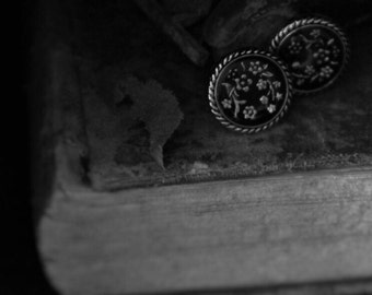 Black and Silver Button with Flower Pattern Stud Earrings!