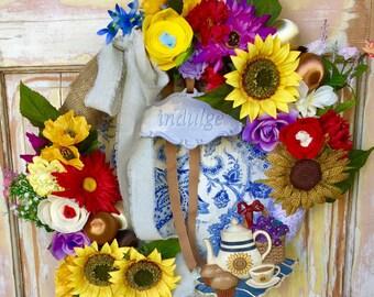 Clearance   Summer sunflower wreath; Ornament wreath; Summer wreath; wreath with vintage ornaments