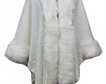Knit Three-Quarter Sleeve Open Front Poncho - Fur