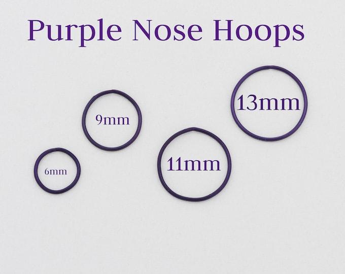 Piercing Nose Rings, Purple Hoop, Handmade Jewelry, Hoop Nose Rings, Nose Ring, Small Hoop