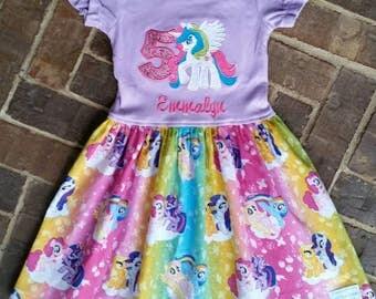 Girl's Pony Princess Celestia Dress with Name and Birthday Number