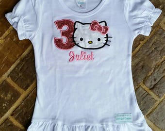 Girl's Kitty birthday shirt with name and number
