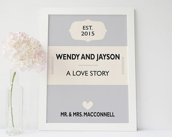 Custom wedding gift - Personalised book cover print - personalised wedding gift -custom anniversary print - paper anniversary gift