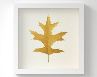 Pin Oak Leaf – Original Acrylic Painting – Gold Leaf – Hand Painted in 6 Metallic Shades – Wall Art – Birthday Gift – In 3 Sizes – Unframed