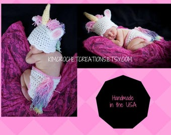 Crochet UNICORN Hat set, Diaper Cover, Baby Girl Photo Props, Shower Gift, bringing home baby outfit, Preemie, Newborn, up to 12 months