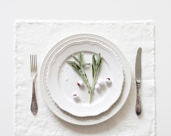 White Stone Washed Linen Placemat With Fringes