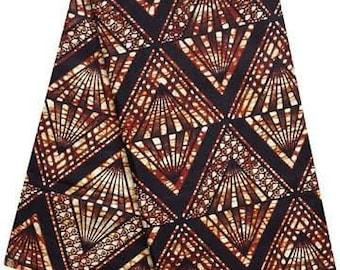 AWF458, per Yard Cut, African Wax Fabric, 100% Cotton, Brown, Black and White Diamond Pattern Print