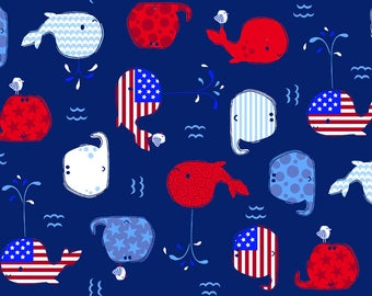 Patriotic Whale Fitted Crib/Toddler Sheets and Pillow Cases ~Custom Made~