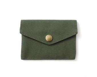 Minimalist Canvas Wallet Slim Snap Wallet Green