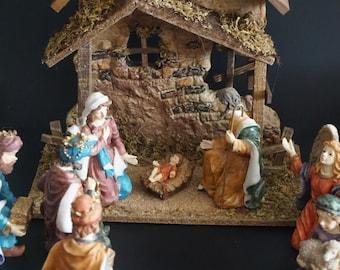 Vintage, Nine Piece Polyresin Nativity Set with Creche