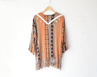 vintage boho hippie long striped tunic shirt with fringe 70s // M-L