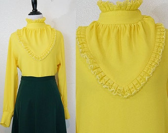 1970s Victorian Bright Yellow Ruffle Lace Blouse L/XL