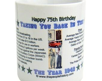 Pre-Made 1942 Birthday Message Mug - Happy 75th Birthday