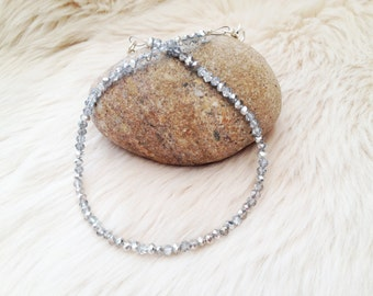 Silver / clear sparkle party beaded  glass choker.  UK jewellery