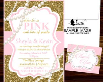 Pink and Gold and Pearls Baby Shower Invitation - Digital File or Printed