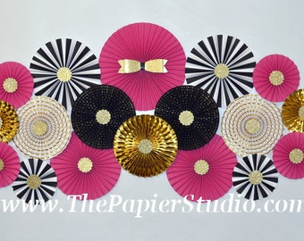 Pink Black and Gold, Kate Spade Inspired, Set of Eighteen (18) Paper Rosettes