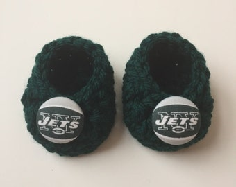 New York Jets baby booties, baby booties, infant shoes, crochet baby booties, booties for baby, crochet baby shoes