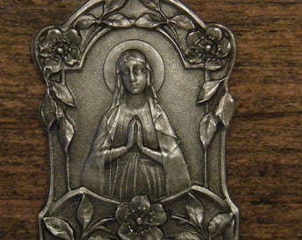 Antique French silvered religious medal pendant our holy virgin mother Mary Lourdes