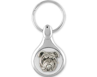 Bulldog Key Ring Jewelry Sterling Silver Handmade Dog Key Ring BD18-KE