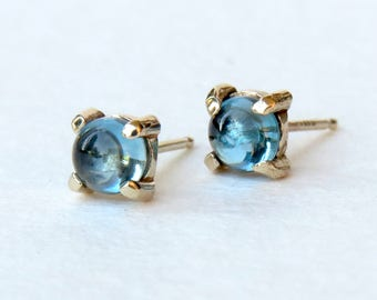 topaz earrings, gemstone studs, topaz jewelry, blue gemstone studs, solid gold jewelry, november birthstone