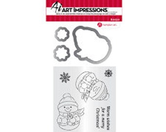 SNOWMAN Stamp and Die Set by Art Impressions SCO738 cc22