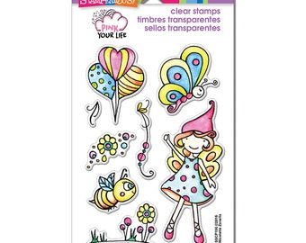 Pink Your Life WHISPER FLY BY Perfectly Clear Stamp Set by Stampendous SSCP106 cc05