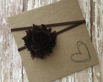 Brown MINI Shabby Flower Headband