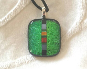 Green Dichroic Glass Necklace, Dichroic Glass Pendant,  Fused Glass Necklace, Art Glass Necklace, Fused Glass, Necklaces, D242