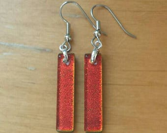 Copper Red dichroic glass earrings, Dichroic glass jewelry, Fused glass rectangle dangle earrings, Red earrings, EA148