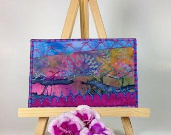 Fabric Postcard - Fuchsia Blue Crazy Quilt Postcard, Hand Embroidered Postcard, Fiber Art Postcard, Quilted Postcard, Modern Embroidery Art