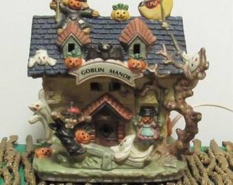 Goblin Manor Porcelain Lighted House, Haunted Hallow